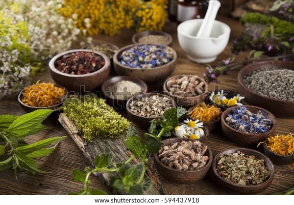 Rimedio naturale e malta, erbe curative sfondo