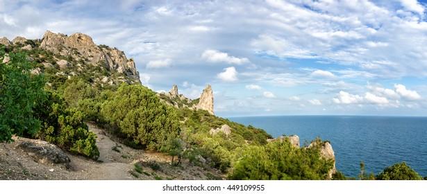 Natural reserve of mount Karaul-Oba, Crimea, city of Sudak, Black sea