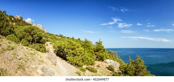 Natural reserve of mount Karaul-Oba, Crimea, city of Sudak, Black sea coast