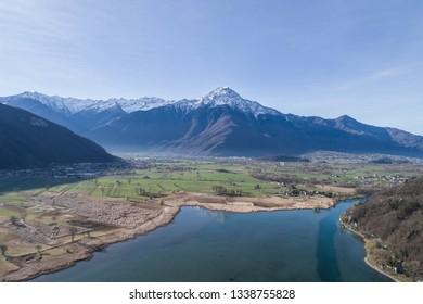 Natural reserve of Pian di Spagna. Lake of Novate Mezzola (Valchiavenna) Aerial view