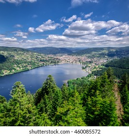 Natural resort Gerardmer lake in Vosges mountains, France Lorraine