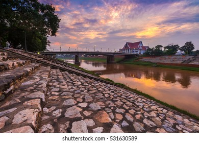 Natural riverbank evening , Phitsanulok, Thailand.