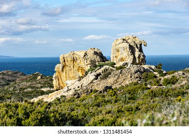 Natural rock The Camel of Pla de Tudela at the Cap de Creus. Cap de Creus is the easternmost point of Catalonia, mainland Spain and the Iberian Peninsula.