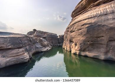 Natural of rock canyon in mekhong river, Kaeng Chom Dao, Ubon Ratchathani province, Thailand.