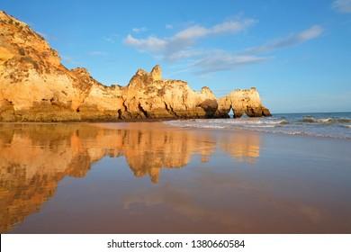 Natural rocks at Praia Tres Irmaos in Alvor the Algarve Portugal