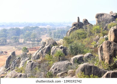 Natural rocky hilly landscape of India horizontal view in the villages of Deoghar, Santhal Pargana, Jharkhand, INDIA - Tourism concept.