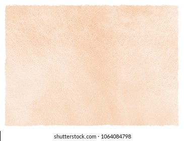 Natural, rose beige watercolor background with stains and rough, uneven edges. Human skin, foundation color painted watercolour texture. Pastel, soft brown aquarelle template for banners, posters.
