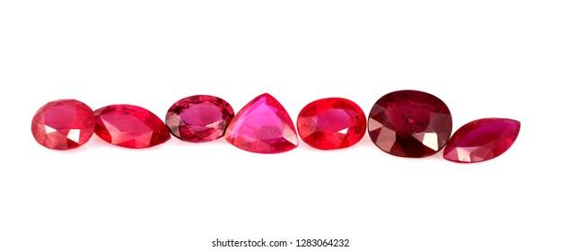 Natural Ruby gemstones on white background