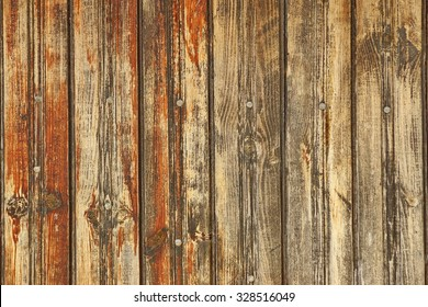Natural Rustic Brown Weathered Wood Plank Wall Panel With Nails Head Horizontal Background Texture Close-up