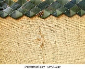 Natural sack texture. Goni, gunny texture. Canvas with gok kola art.