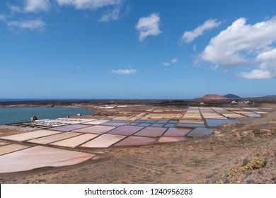Natural salt evaporation pond on the island of Lanzarote at Salinas de Janubio, Canary Islands, Spain