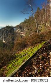 Natural sandstone gate in natioanl park Bohemian Switzerland