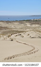 Natural, sandy Parnidis dune near Nida resort town. Curonian Spit - UNESCO World Heritage Site