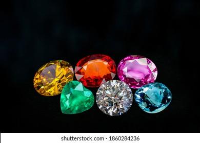 Natural Sapphire gemstone, Jewel or gems on black