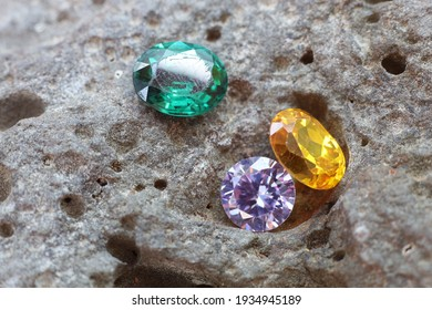 Natural Sapphire gemstone, Jewel or gems on black shine color, Collection of many natural gemstones on stone