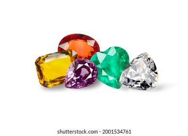 Natural Sapphire gemstone, Jewel or gems on white background