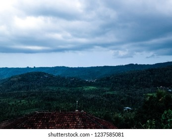 Natural Scenery Cloudy Hilly Village At Munduk Village, Buleleng, North Bali, Indonesia
