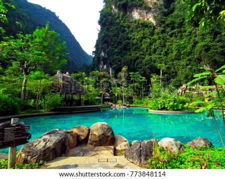 natural scenery mountain swimming pool relaxing stock photo edit