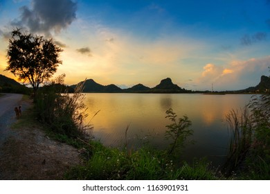Natural scenery photos. The scenery of the reservoir(Ang Kep Nam Huai Tu Nueng) with the mountains as the backdrop.