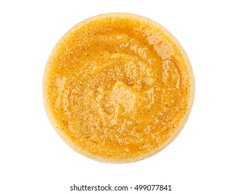 Natural scrub in container on white background