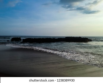 Natural Sea Rocks At The Sea Of Bolong Beach, Canggu Village, Badung, Bali, Indonesia