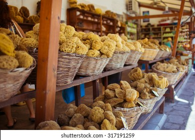 A natural sea sponges in the shop at Symi island, Greece