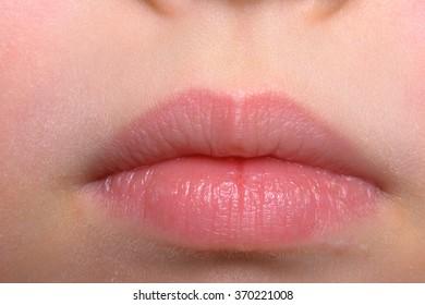 Natural skin lips macro