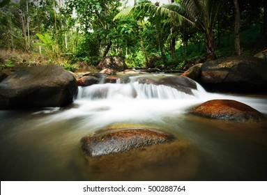 Natural small waterfall and river in the resort at Chanthaburi, Thailand