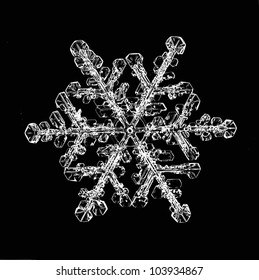 natural snowflake isolated on a black background a strong increase
