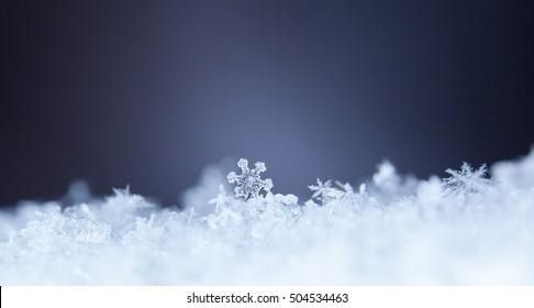 natural snowflakes on snow, photo real snowflakes during a snowfall, under natural conditions at low temperature