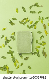 Natural soap of green color with eucalyptus leaves on a green background. Vertical format. Monochrome
