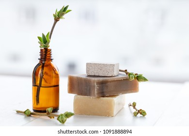 Natural soap for SPA procedures, with oils on a light background. Copy space