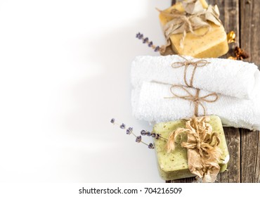 Natural soap Spa set handmade place for text on white background, concept of body care and healing
