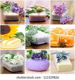 natural soaps - collage with nine pictures