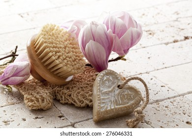 natural soothing bodycare with magnolia flowers