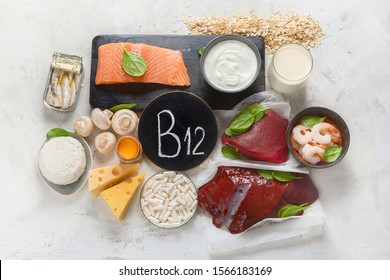 Natural sources of Vitamin B12 (Cobalamin) for normalization of sleep;  ensuring normal brain function; supporting the respiratory system;  alzheimer's deasease treatment. Top view