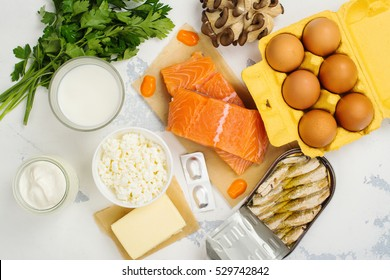 Natural sources of vitamin D and Calcium. Healthy food background. Top view. Space for text