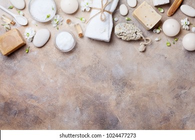 Natural spa, beauty and aromatherapy background on stone table top view. Flat lay.