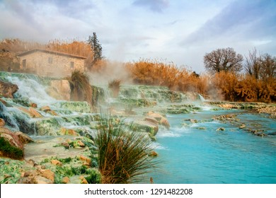 Natural spa Cascate del Mulino (Mill waterfalls) and hot springs at Saturnia thermal baths in winter, Grosseto, Tuscany, Italy.