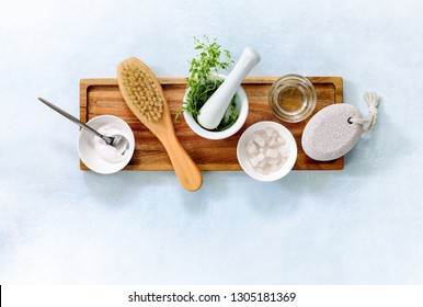 Natural spa cosmetic ingredients ready for skin care treatment, flatlay  composition with blank space for a text