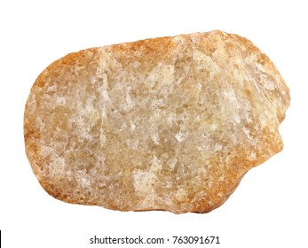 Natural specimen of crystalline quartzite (orthoquartzite) - metamorphic rock, broken cobble from the deposits of Quaternary glaciers, Vyatka region, on white background