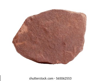 Natural specimen of quartzite (metamorphosed sandstone) - red quartzitic slate, isolated on white background