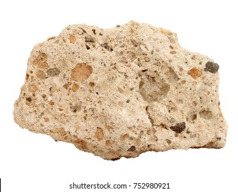 Natural specimen of Tufa limestone (travertine) - sedimentary rock, porous variety of limestone formed when carbonate minerals precipitate out of mineralized water on white background