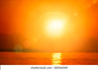 Natural spring backgrounds create light soft colors and bright sunshine a short time before sunset. Beautiful Landscape Ocean Summer sunset Natural background.