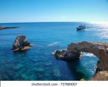 Natural stone arch near Ayia Napa, Cyprus