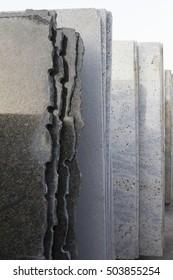 Natural stone. Background of granite slabs. Granite slabs are prepared for sale.