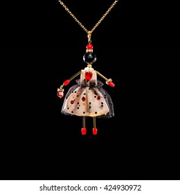 natural stone beads doll pendant necklace