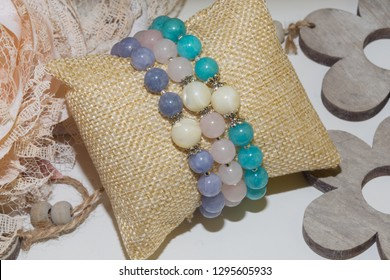 natural stone bracelet set pink quartz pearl amazonite angelite beads