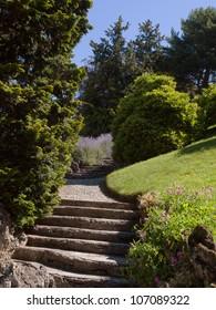 Natural stone path in garden