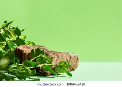 Natural stone podium display with leaf shadow. Product presentati on soft green background. Cosmetics or beauty product promotion trendy minimalist mockup. - Shutterstock ID 1884452428